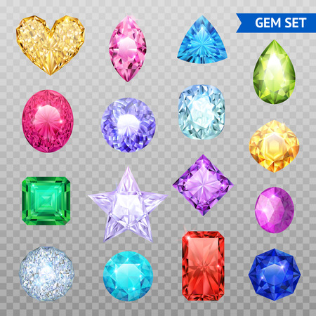 Colored realistic and isolated gemstones transparent icon set precious stones shimmer and shine vector illustration Çizim
