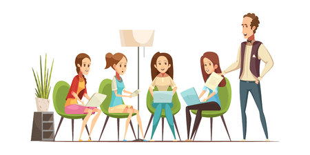 attending: Teenage girls group with electronic gadgets attending workshop class at youth center retro cartoon vector illustration