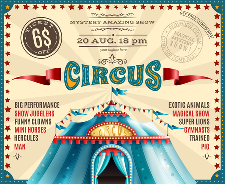 Travel circus carnival performances discount ticket voucher retro poster with blue canopy tent and show highlights vector illustration