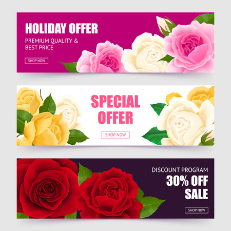 Rose horizontal banners set with special offer symbols realistic isolated vector illustration
