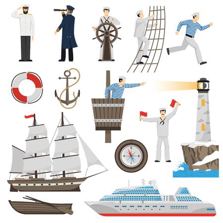 Altmodische Segelschiff und moderne Kreuzfahrtschiff flache Symbole mit Anker Helm Kompass Vektor-Illustration gesetzt Standard-Bild - 85337716