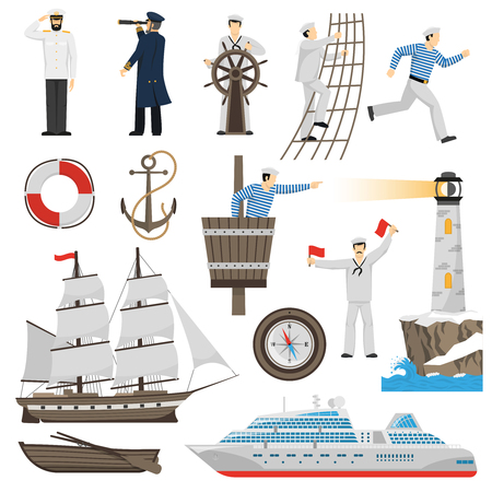 Old-fashioned sailing ship and modern cruise liner flat  icons set with anchor helm compass vector illustration