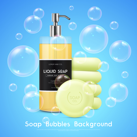 Soap liquid dispenser and round bars realistic advertisement poster with bubbles on blue background vector illustration Ilustração