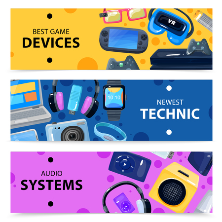 handheld device: Character geek nerd horizontal banners collection with doodle images of various portable electronic devices and gadgets vector illustration