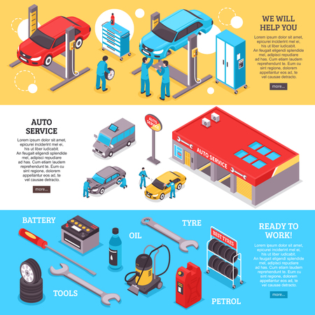 Auto service center workers and tools horizontal banners set 3d isolated vector illustration