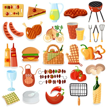 Barbecue picnic accessories stylish colorful big icons set with apron grilled meat vegetables drinks isolated vector illustration Illustration