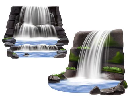 Set of two natural landscape scene for park garden and computer game design with waterfalls rocks and stones realistic isolated vector illustration Illustration