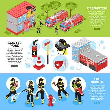 Horizontal isometric banners set with firefighter equipment department station and brigade putting out fire 3d isolated vector illustration