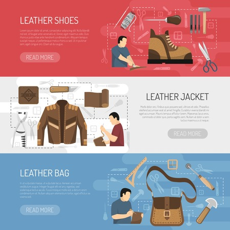 Leather goods horizontal banners with working tools and skinners making clothes  shoes and accessories flat vector illustration