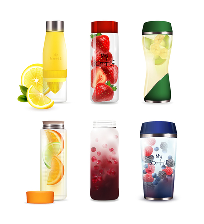 Set of bottles of various shape with detox fruit beverages from citrus, kiwi, berries isolated vector illustration