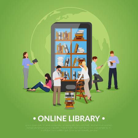 Biblioteca en línea con hombre mujer smartphone y libros ilustración vectorial plana Foto de archivo - 85337723