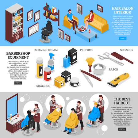 Hairdressers at work and barbershop interior and equipment horizontal banners set 3d isolated vector illustration