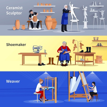 Craftspeople at work 3 flat banners set with sculptor ceramist shoemaker and weaver isolated vector illustration