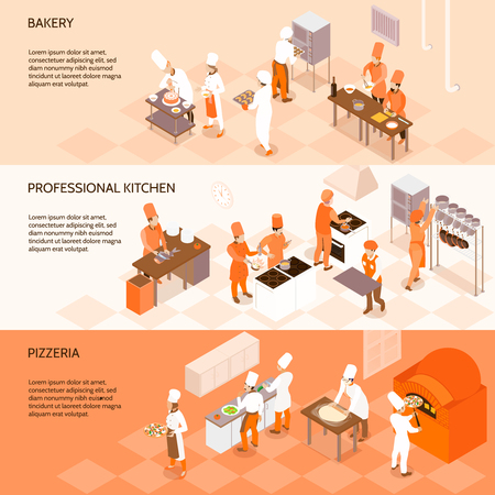 Horizontal isometric banners with staff of bakery, chefs in professional kitchen, cooking in pizzeria isolated vector illustration