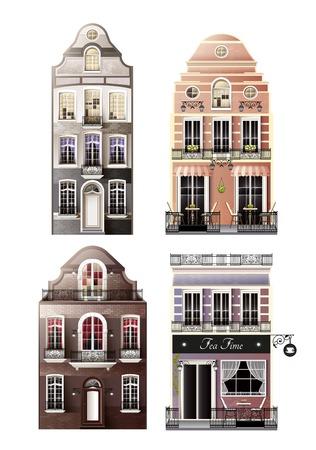 Variaties van oude Europese voorgevelhuizen met overspannen en traditionele vensters, portiek, balkons, koffie geïsoleerde vectorillustratie
