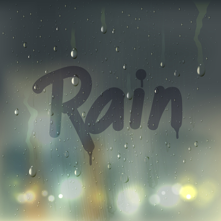 Realistic rain word on misted glass composition with written by finger on window vector illustration Illustration
