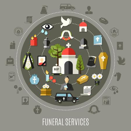 Het begrafenisdienstenconcept plaatste met de kerkhofauto van de fotokerk en graf vlakke vectorillustratie