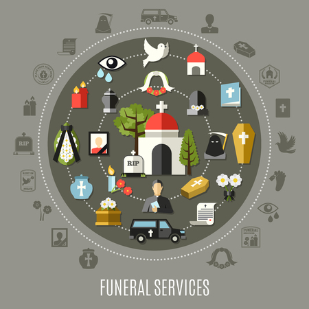 Funeral services concept set with photo church cemetery car and tomb flat vector illustration Vettoriali