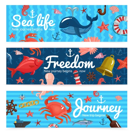 Sea journey horizontal banners with nautical elements and underwater wildlife on textured blue background isolated vector illustration