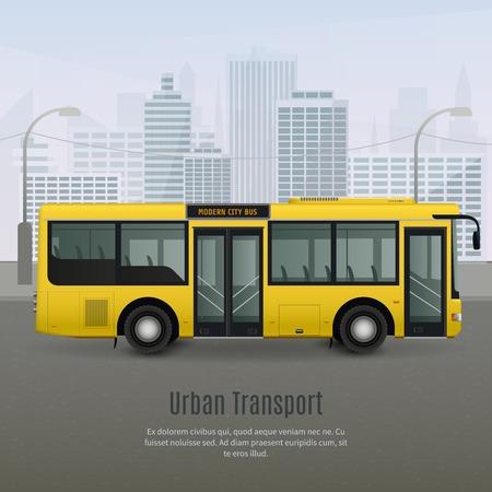 Realistico moderno autobus giallo della città con luce di vetro tinta su sfondo grigio con illustrazione vettoriale paesaggio urbano Archivio Fotografico - 85338226