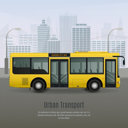 Realistic modern yellow city bus with light glass tinting on grey background with urban landscape vector illustration Illustration