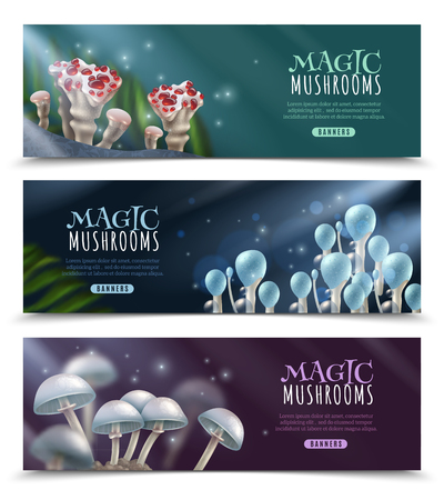 Set of horizontal banners with shiny magic mushrooms and sparks on dark blurred background isolated vector illustration Çizim