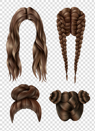 Female hairstyles set including long flowing hair, youth tufts, french braids on transparent background isolated vector illustration