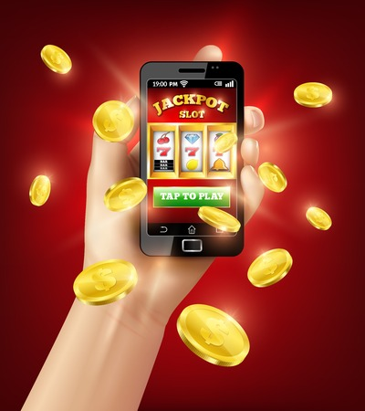 Hand holding black smartphone with slot machine mobile app at screen on red background 3d vector illustration