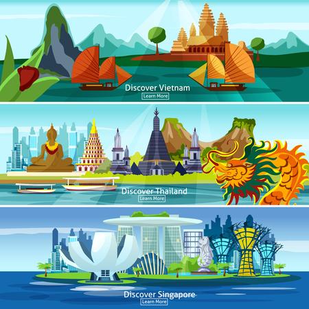 ベトナム、タイ、シンガポールの分離されたパノラマ ベクトル イラスト入りアジア旅行バナー