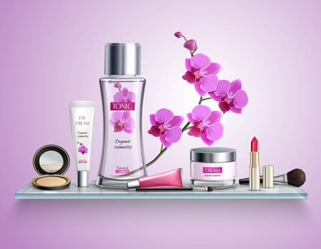 Makeup colored and realistic composition with set of luxury cosmetics on glass shelf vector illustration