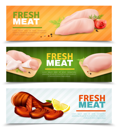 Set of horizontal banners with fresh chicken meat, grilled leg and wings, cutting boards isolated vector illustration
