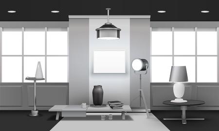 大きな窓、投光照明、スタンド、テーブルのベクトル図の灰色の調子で現実的なロフト インテリア 3 d デザイン  イラスト・ベクター素材