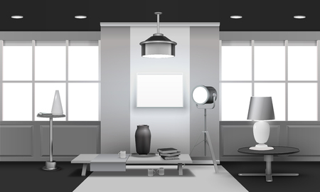 Realistic loft interior 3d design in grey tones with large windows, floodlight, stand and table vector illustration Ilustração