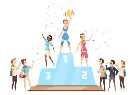 勝者の女性レトロ漫画のフラットニュースレポーターとスポーツウーマン文字のメダルスタンドベクトルイラストに立っての構成