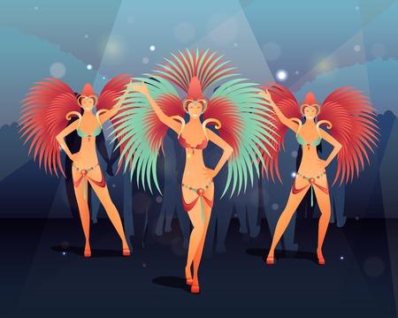 Fête de carnaval de Rio avec les gens de la danse illustration vectorielle à gradient plat Banque d'images - 85447984