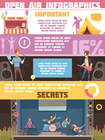 Open air festival infographic retro cartoon poster with camping tips rules and information on performers vector illustration