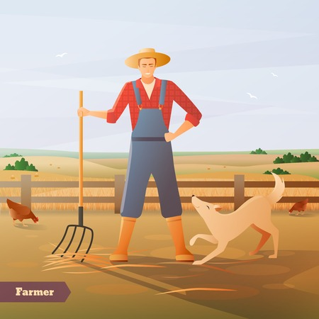 Farmer in overalls and hat with pitchfork and dog at paddock for chicken flat composition vector illustration Illustration