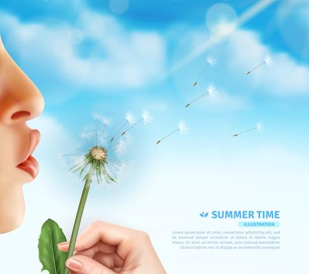 Realistischer Lippenlöwenzahnhintergrund mit den realistischen menschlichen Lippen und Hand, die Blowballblume mit editable Textvektorillustration halten Standard-Bild - 85214899