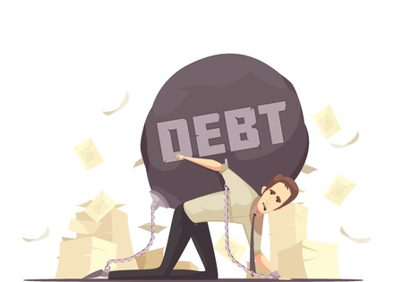 Business failure symbolic retro cartoon icon with kneeling businessmen chained to heavy debt burden vector illustration