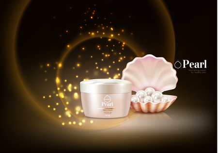 Cosmetic background with pearl and particles with purple cream packaging and nourishing cream for healthy skin text vector illustration