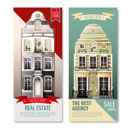Verticale banners met oude europese gevelhuizen als reclame voor vastgoedkantoor geïsoleerde vectorillustratie