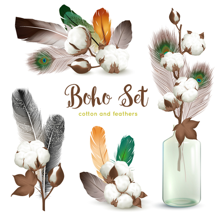 Boho style decorations with ripe cotton plant bolls colorful feathers glass bottle realistic compositions collection vector illustration Illustration
