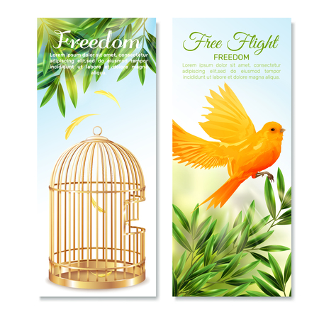 Vertical banners with canary in free flight on green plants and empty open birdcage isolated vector illustration