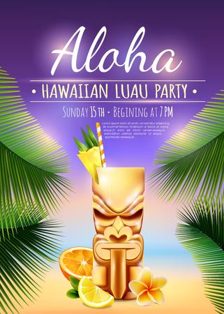 Cartaz de festa do luau havaiano com caneca tiki, frutas cítricas, flor, ramos de palmeira na ilustração vetorial de fundo desfocado