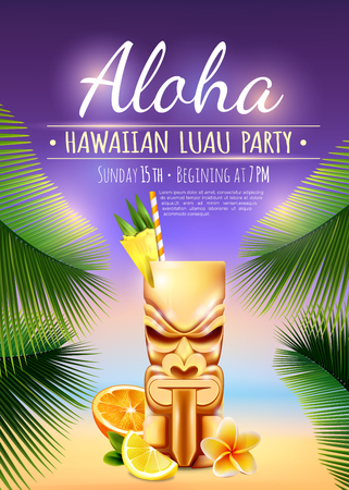 Hawaiian luau party poster with tiki mug, citrus fruits, flower, palm branches on blurred background vector illustration