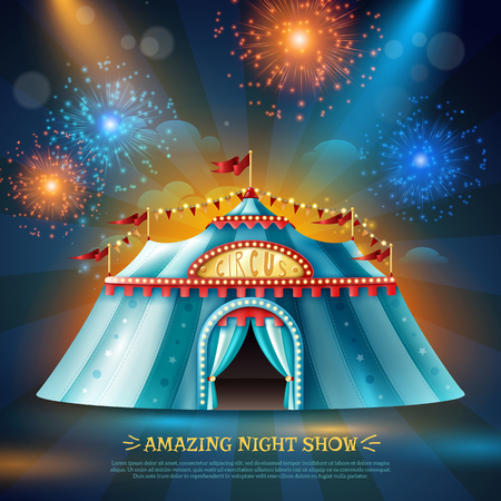 Travel circus tent at night in colorful light beams and firework dark blue background poster vector illustration Ilustração