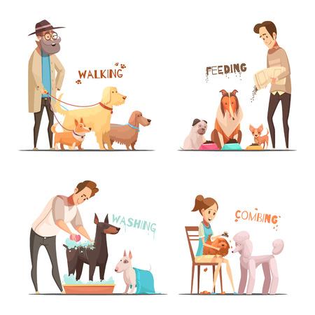 De pictogrammen van het hondconcept met het lopen en het wassen van symbolenbeeldverhaal geïsoleerde vectorillustratie worden geplaatst die Vector Illustratie