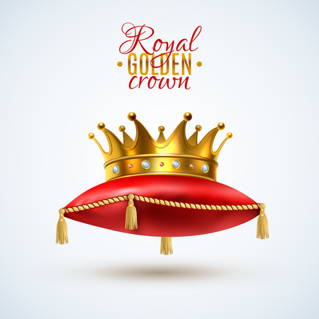 Gold royal crown with gemstones on ceremonial red pillow with tassels realistic single object image vector illustration