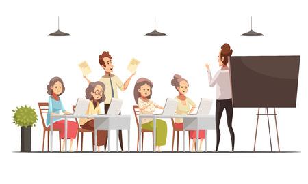Groupe d'ordinateurs de groupe de femmes âgées pour l'affiche de dessin animé rétro personnes âgées avec illustration vectorielle de tableau noir et ordinateurs portables Banque d'images - 85414641