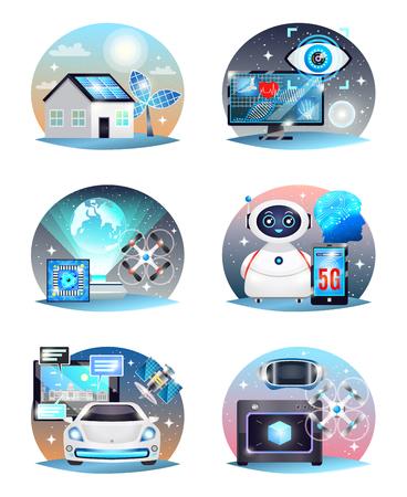 Technologieën van toekomstige samenstellingen die met digitale geneeskunde, printer, elektrische auto, hologramprojector geïsoleerde vectorillustratie worden geplaatst Stock Illustratie